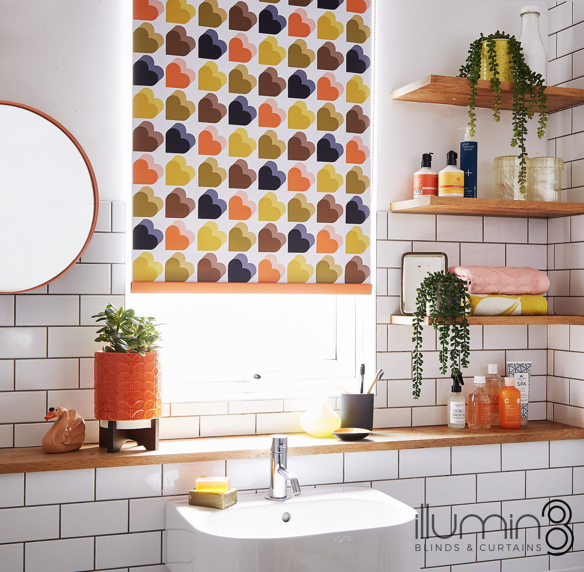 Orla Kiely Blinds heart roller blinds for bathrooms